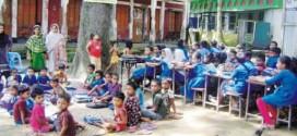 কুমিল্লার তিতাসে প্রাথমিক বিদ্যালয়ের ভবন পরিত্যক্ত, ১ বছর ধরে মাঠেই চলছে পাঠদান