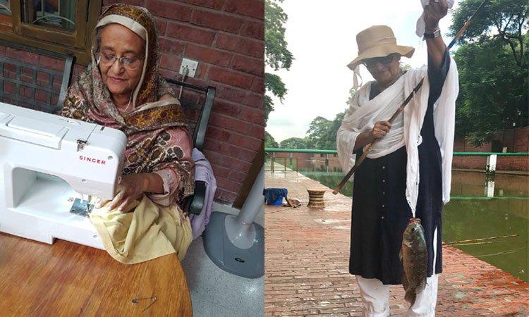 অবসর পেলেই সেলাই করেন, মাছও ধরেন প্রধানমন্ত্রী শেখ হাসিনা